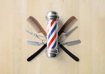 Barbershop logo design butterfly scissor background concept.
