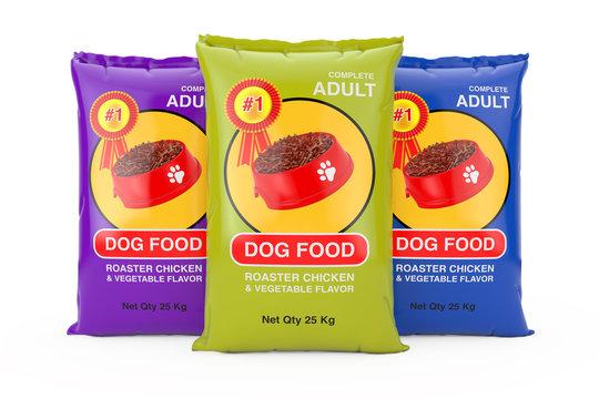 Dog Food Bag Packages Design. 3d Rendering
