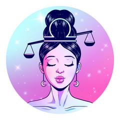 Libra zodiac sign artwork, beautiful girl face, horoscope symbol, star sign, vector illustration