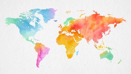 Wall Mural - Mehrfarbenaquarell-Weltkarte auf Papierhintergrund.