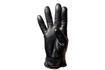 Closeup black leather glove, fingers showing number four. Isolated on white background. Concept symbols, signs, numbers