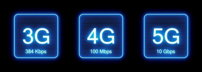 Wireless cellular network speed evolution icons: 3g, 4g, 5g
