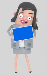 Business woman holding a Tablet with a blue screen. Isolated.