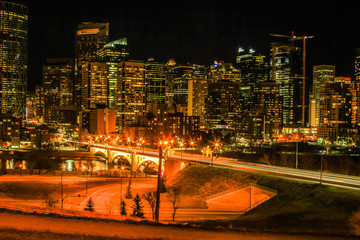 City of calgary at night, Calgary, Alberta, Canada
