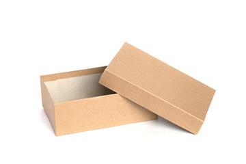 Open cardboard box on white backgroun.