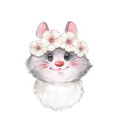 Mouse in wreath, cute watercolor illustration isolated on white