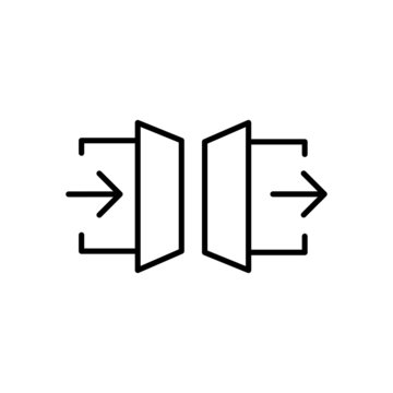Enter and exit icons. Linear vector symbol with arrow and door.