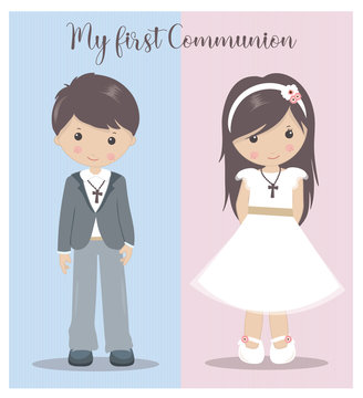 My First Communion girl and boy. Holy Communion vector