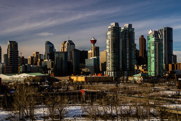 City skyline from a hill top on a winters morning, Calgary, Alberta, Canada