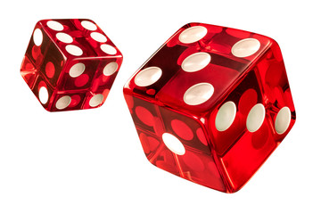 Red Casino dice (w/clipping path). High resolution of clean new dices Fotoväggar