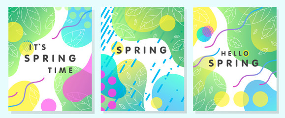 Set of unique spring cards with bright gradient backgrounds,tiny leaves,fluid shapes and geometric elements in memphis style.Abstract layouts perfect for prints,flyers,banners,invitations,covers.