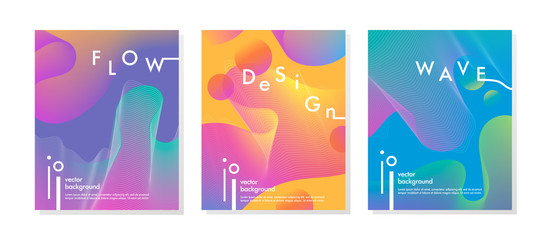 Set of trendy neon posters with flowing liquid shapes and geometric elements.Dynamic 3D fluid shapes.Bright abstract layouts perfect for prints,flyers,banners,covers,parties,social media and more.