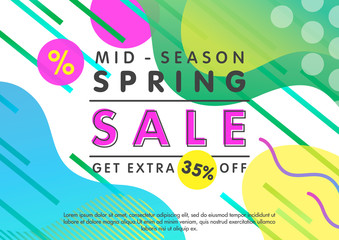 Spring sale banner.Unique design card with gradient background,fluid shapes and geometric elements in memphis style.Mid-season sale poster perfect for prints, flyers,banners, promotion,special offer.