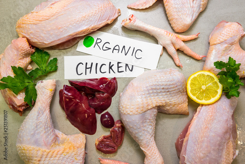 Parts of organic chicken (leg, breast, wing, claw and guts