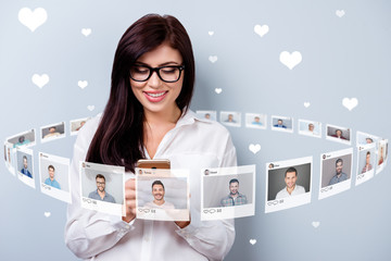 Close up photo texting she her lady hold smartphone online sit internet repost like pick choose choice illustration pictures guys dating site futuristic creative design isolated grey background