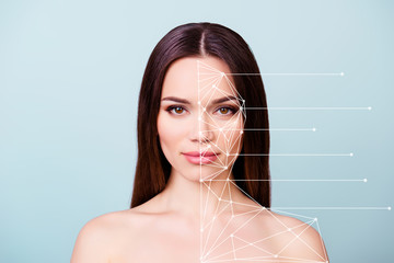Beauty and health concept. Young pretty she her lady with healthy skin, hair, looking straight in the camera. So fresh, attractive and healthy stylized illustration isolated grey background