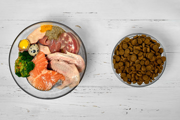 Natural raw dog food BARF diet as opposite of kibble dry food Concept Closeup Wall mural