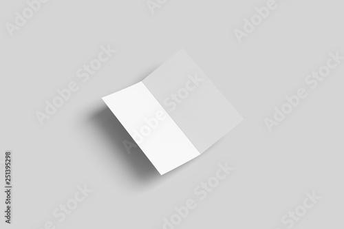 Bi fold half fold Brochure Mock-up isolated on soft gray