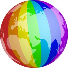 The globe is painted in the colors of LGBT community.flag of gay, lesbian, bisexual, transgender.