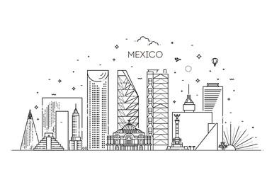 Mexico city skyline on a white background. Flat vector illustration Papier Peint