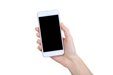 Female hand holding smartphone on white background