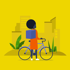 Food delivery service. Young black female courier with a large backpack riding a bike. Flat editable vector illustration, clip art