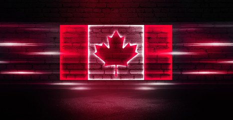 Canada neon flag on old brick wall background. Neon multicolored light smoke.