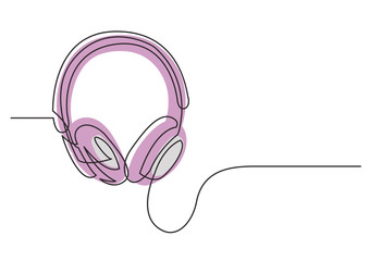 continuous line drawing of headphones