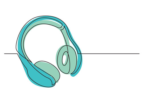 continuous line drawing of wireless headphones