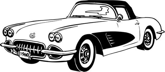 1960 Corvette Vector Illustration Wall mural