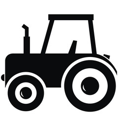 black silhouette of tractor, simple vector illustration