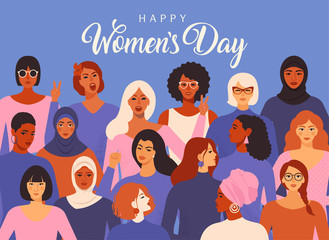 Female diverse faces of different ethnicity poster. Women empowerment movement pattern. International women s day graphic vector. Fototapete