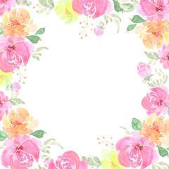 watercolor frame with roses flowers background