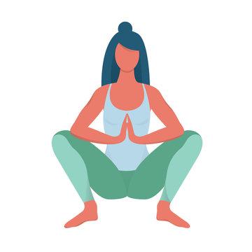 Malasana pose. Woman doing exercise for body
