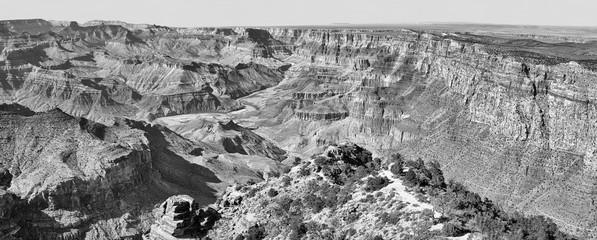 Black and white panoramic picture of Grand Canyon, Arizona, USA.