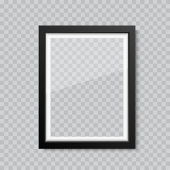Realistic blank glass picture or photograph frame. Vector