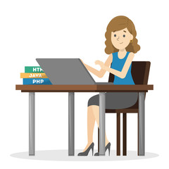 Woman sitting at the desk and working