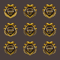 Set of gold vip monograms for graphic design on gray background.