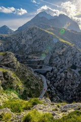 road to sa calobra on the sierra de tramontana mountains in the north of mallorca island, spain