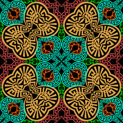 Garden Poster Moroccan Tiles Ornamental colorful greek vector seamless pattern. Abstract geometric background. Repeat decorative ethnic style backdrop. Floral greek key meanders ornament. Tribal design. For fabric, textile, print