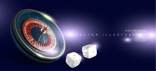Casino roulette wheel isolated on blue background. 3d realistic vector illustration. Online poker casino roulette gambling concept design. Wall mural