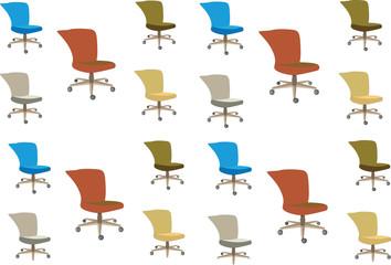 gruppo di sedie colorate per arredamento interni