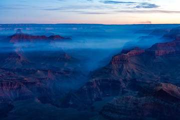 Sunrise Image of the Grand Canyon National Park with early morning haze and fog, Arizona, USA