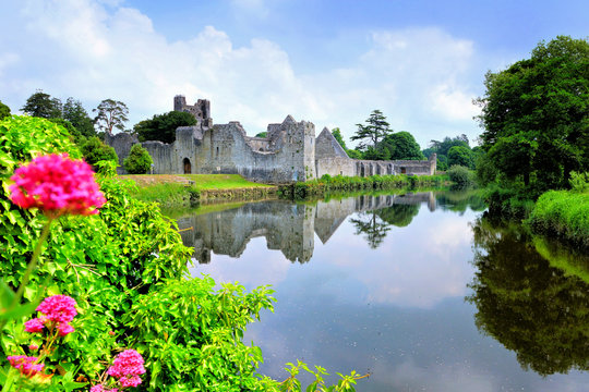 Medieval Desmond Castle, Ireland with river reflections and flowers, Adare, County Limerick