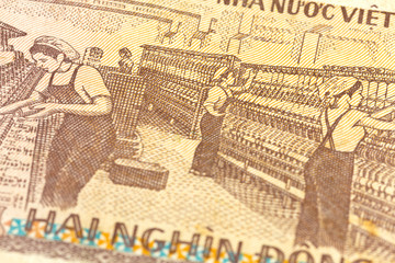 detail of a 2000 vietnamese dong bank note reverse