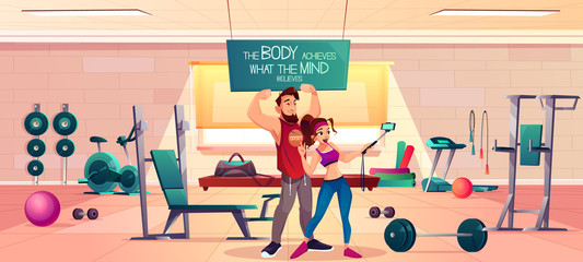 Fitness club clients cartoon vector concept. Young man and woman in sportswear, showing biceps muscles and victory hand sigh on camera, making selfie photo with smartphone in gym interior illustration