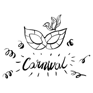 Carnival hand drawn lettering and mask for Brasil carnaval, Mardi Gras, Spain carnival masquerade festival concept for celebration template poster, banner, logo, icon, printing. Vector isolated