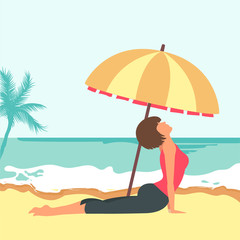 Woman sitting on beach. Concept for vacation, holiday and travel. Summer time. Woman doing yoga on the beach. Flat vector illustration