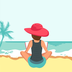 Woman sitting on beach. Concept for vacation, holiday and travel. Summer time. Woman reading book on the beach. Flat vector illustration