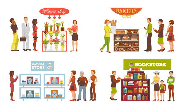 Shop window vector showwindow of book store flower-shop and window-case of bakery illustration set of jewelery frontstore showcase isolated on white background